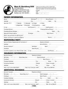 Bellbrook Dental Patient Registration form